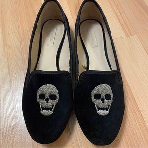 Zara Trafaluc Skull Velvet Loafers Size 39